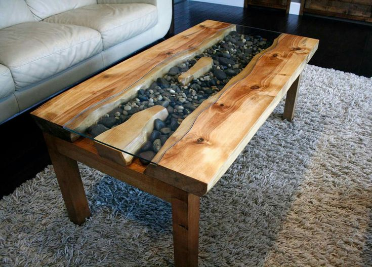 Birch Live Edge River Coffee Table With River Rock In