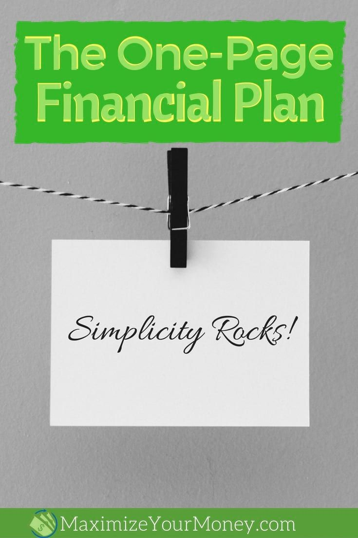 one page financial plan pdf