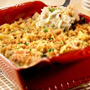 @Ashley Connour  You won't believe how easy it is to make this classic casserole featuring that favorite combination of tuna, noodles, peas and cream of mushroom soup.  This version serves 8, so everyone can dig in!