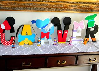 Mickey Mouse Clubhouse 3-D Name letters Made by Jen Carver // Banner Events Printables by // Amanda's Parties to Go