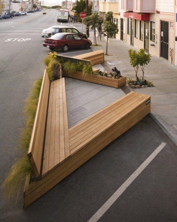 aménagement urbain: banc-jardinières triangulaires