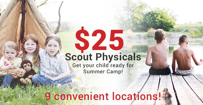 Don't forget to schedule your Scout Physicals - only $25! Call today!