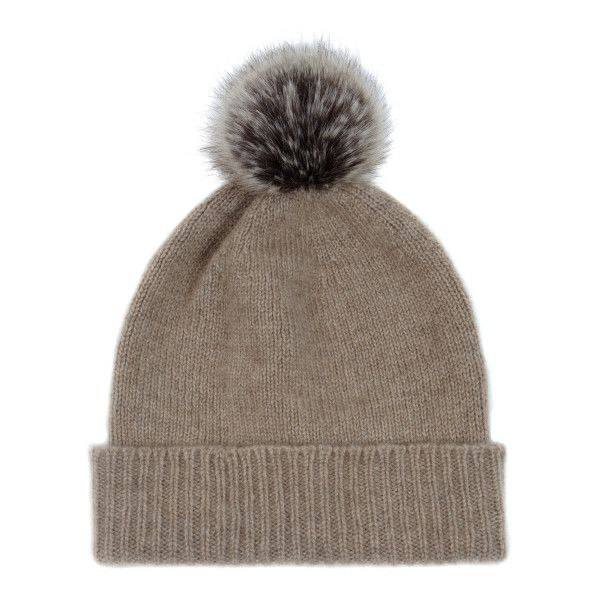 Bobble Hat in Camel with Truffle Pom Pom ($96) ❤ liked on Polyvore featuring accessories, hats, bobble hat, beanie cap, camel hat, pom pom beanie hat and pompom hat