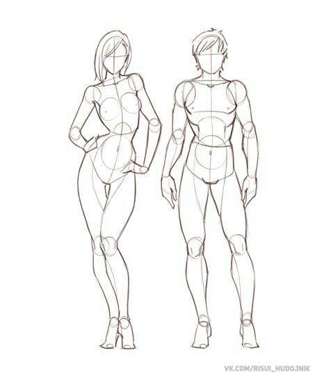 Proporção de corpo feminino mangá