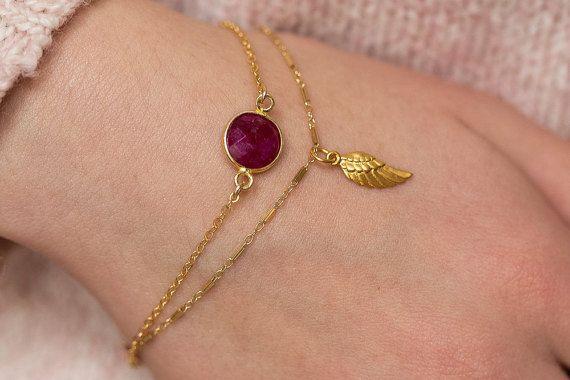 Ruby Bracelet, Gold Ruby Bracelet, Solitaire Bracelet, Layering Bracelet, July Birthstone, Simple Bracelet, Minimal Bracelet, Gold Bracelet