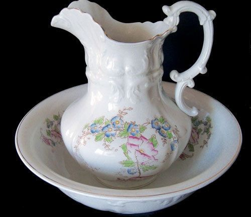 Antique VICTORIAN PITCHER BOWL WASH SET....Akron Ohio China 1894-1908.....ORNATE #VICTORIAN #AKRONCHINACOOHIO
