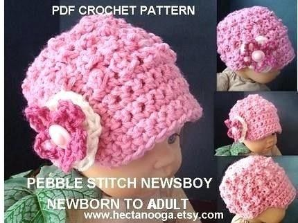 Crochet Hood Hat - Pebble stitch - CROCHET PATTERN, 2