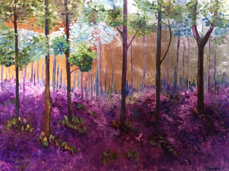 31 -Bosque de Lavanda , Oleo sobre tela y hoja  de plata  Vendido  , medidas 90 X 1.20 cm