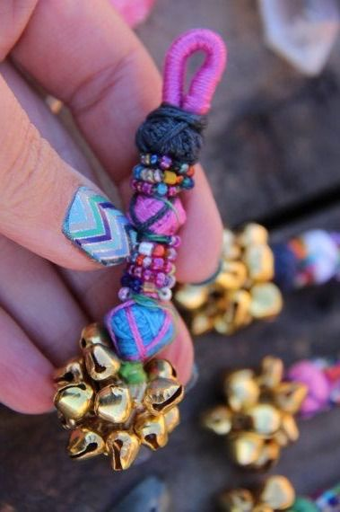 "Mini Bell Swag Multi-Colored Camel Swag Charm, Tassel, Decoration Bohemian Beaded Gypsy Fashion Design, Decorating Supply, Charm, 1 Piece $7.00. Each piece is 3.5"" long (the loop is 1/2"" long). These are great little accent pieces."