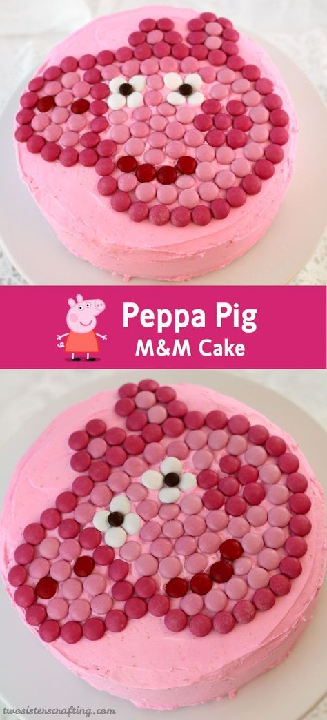 Our Peppa Pig M&M Cake is an adorable birthday cake idea for a Peppa Pig Birthday Party. So cute, so yummy and so easy to make.  We have all the directions you'll need right here.  Follow us for more fun Peppa Pig Party Ideas.