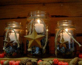 Conjunto rústico tarro de masón estrellas por PineknobsAndCrickets
