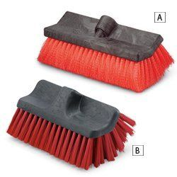"LIBMAN Dual-Sided Brush Heads by LIBMAN. $19.70. LIBMAN Dual-Sided Brush Heads are great for cleaning floors or vehicles.10x6"" dual-sided scrubbing surface. Stapled polymer fiber bristles with resin block. 80% recycled PET plastic bristles. Brush head only; optional handle sold separately.Note: (A) can be used as a flow thru brush head if used with a flow thru handle."