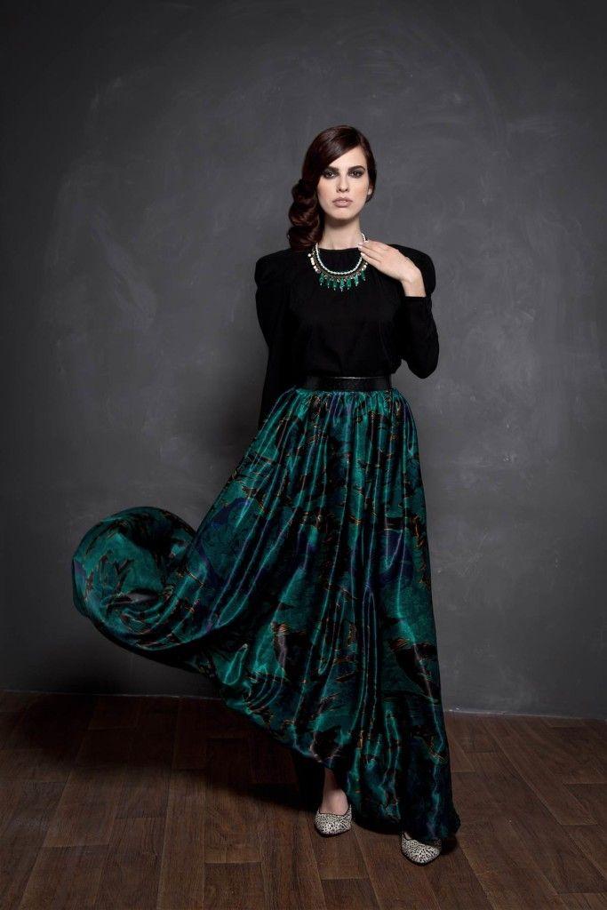 SARTORIAL   Chryssomally    Art & Fashion Designer - Silk maxi skirt in emerald hues and puffed sleeves black top
