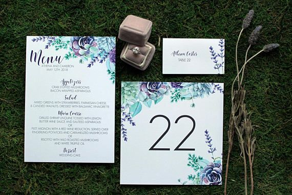 Ultra Violet Succulent and Lavender Reception Suite - Place Cards, Menus and Table Numbers : DCo Lovenotes