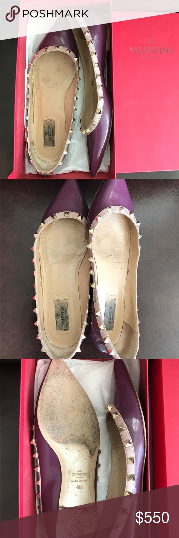 🔥SALE🔥Valentino Rockstud flats Valentino rockstud flats in eggplant like purple color. Comes with the box. Originally $850 incl tax. They have been worn and used. before. Still in good shape.  Please look at all the pics, I'll be happy to answer any questions.  Price firm. Valentino Shoes Flats & Loafers