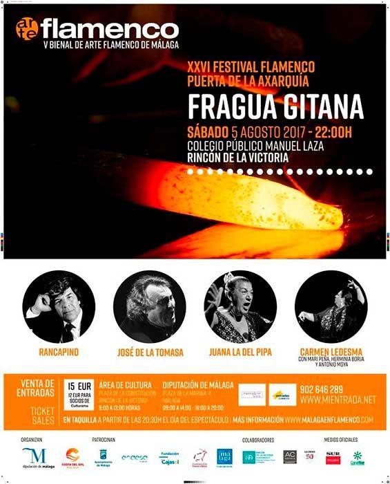 El espectáculo flamenco, de más de tres horas de duración, tendrá lugar en el colegio Manuel Laza a partir de las diez de la noche.      La V Bienal de Arte Flamenco de Málaga ha reunido a tres voces veteranas capaces de ofrecer una ronda de martinetes del más alto nivel en el espectáculo 'Fragua gitana', que tendrá lugar hoy a partir de las 22,00 horas, en el colegio público Manuel Laza, de Rinc   #festival #flamenco #noticias