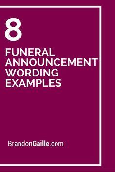 8 Funeral Announcement Wording Examples