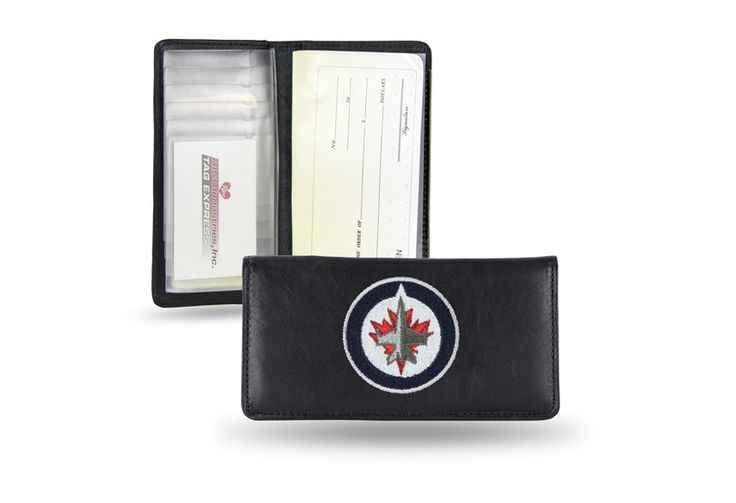 Winnipeg Jets NHL Team Embroidered Leather Checkbook Cover