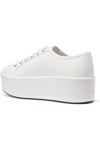 Prada - Linea Rossa Leather Platform Sneakers - White - IT39.5