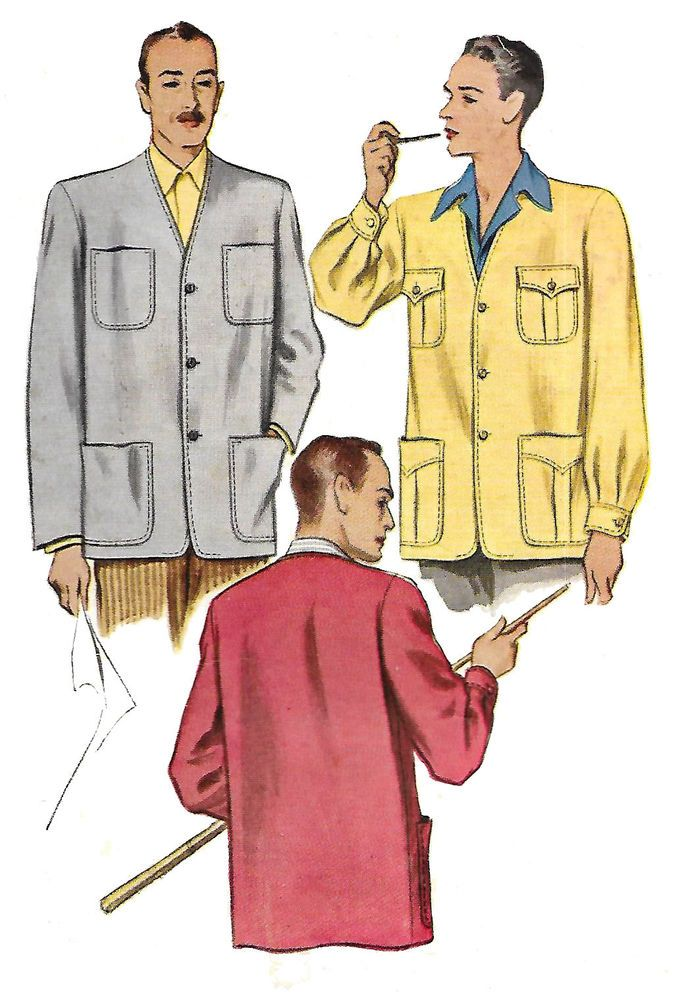 "Vintage 1940's Sewing Pattern Men's Sports Jacket Medium C 38""- 40""  #McCalls"