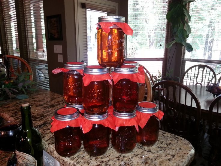 GRANNY'S TEXAS APPLE PIE MOONSHINE After 2 weeks your Moon shine will taste better. makes 9 qts. or 20 pt. jars~1 gal. APPLE JUICE-1 GAL. APPLE CIDER-- 1 1/2 cups white sugar+ 2 1/2 cups BROWN SUGAR-- 3 JARS OF WHOLE CINNAMON STICKS==1 TSP. VANILLA==1 LITER EVERCLEAR 190 PROOF 4 CUPS ( I used 4 1/2 cups===== BOIL-COOL -SLOWLY ADD ALCOHOL POUR IN JARS add cinnamon stick AND SEAL.