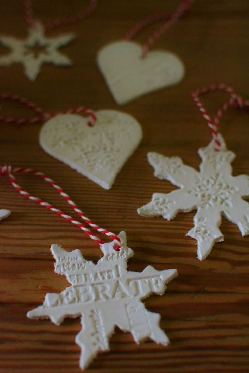 Air drying clay Christmas decorations / similar red and white bakers twine available here: http://bit.ly/redandwhitestring