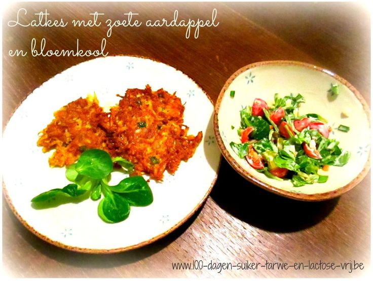 Latkes met zoete aardappel en bloemkool