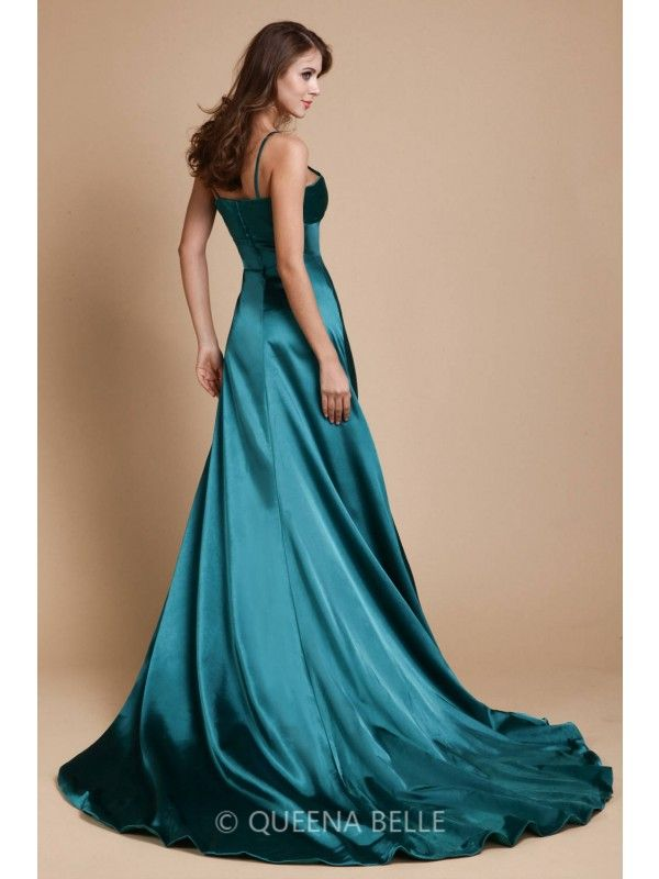 979eef8524d A-Line Princess Spaghetti Straps Sleeveless Sweep Brush Train Ruffles  Elastic Woven Satin Dresses - Sexy Evening Dresses - Evening Dresses -  QueenaBelle UK ...