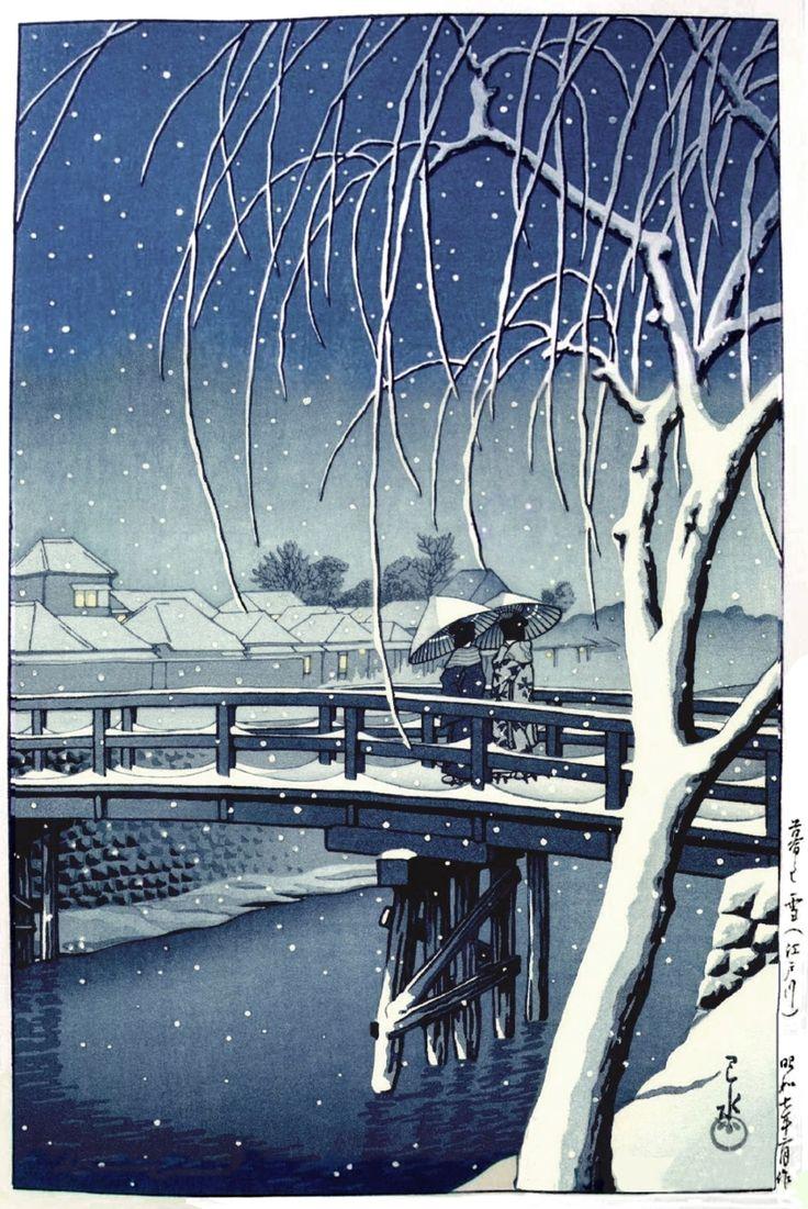 'Evening Snow at Edo River' 1932 woodblock print by Hasui Kawase, Japan