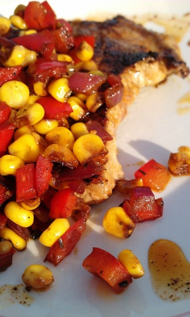 Smoked Paprika Pork Chops with Corn & Bell Pepper Relish