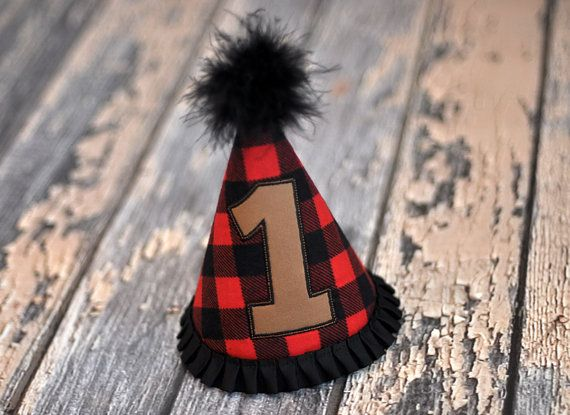 Little Lumberjack Party Hat - Lumberjack, Outdoor Adventure Birthday Party Cake Smash Outfit