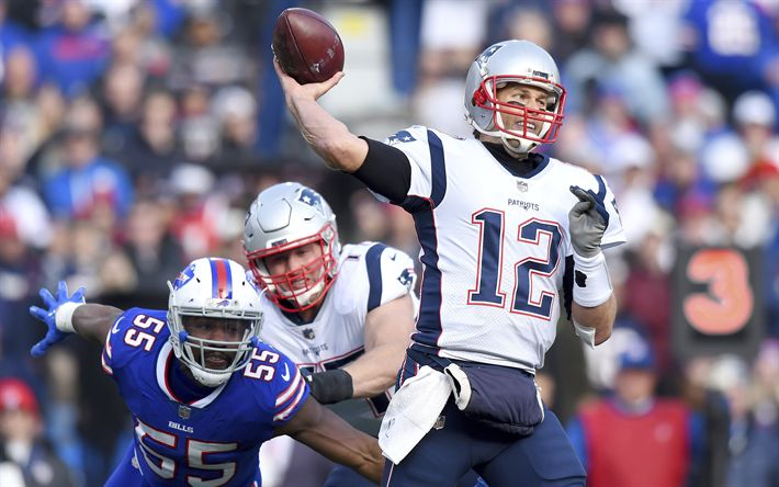 Download wallpapers Tom Brady, 2017, quarterback, match, american football, NFL, New England Patriots
