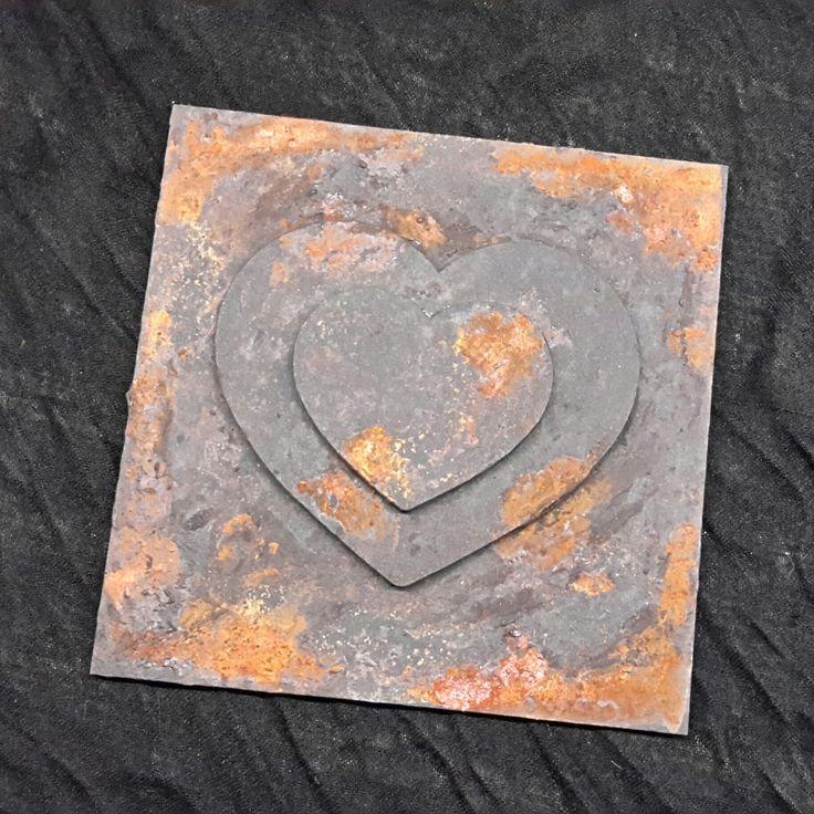 Rozsdás fém hatású fa falikép 15cm x 15cm szív