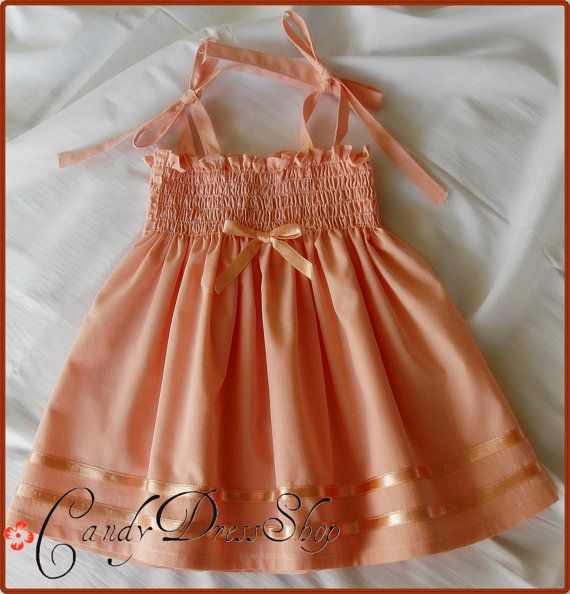 Light salmon color dress for baby girls  Sun от CandyDressShop