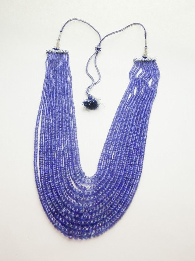 550ct Blue Tanzanite Bead Rope Necklace (B58EE1) beads