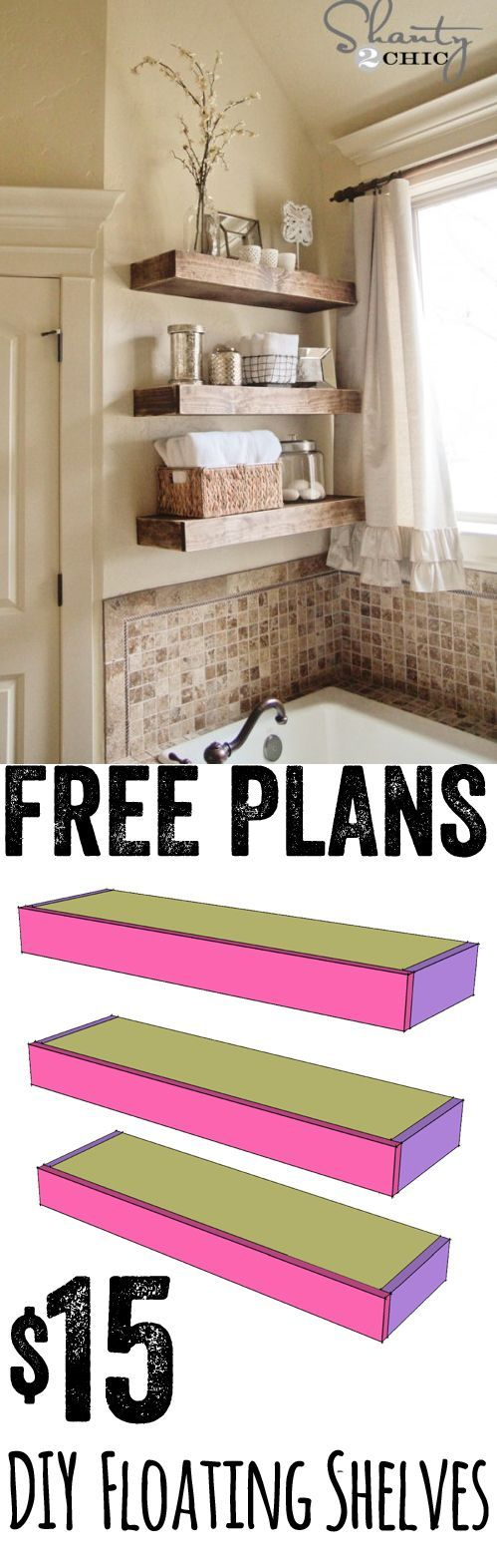 Super cute DIY Floating Shelves… These are easy and cheap too! Free plans at www.shanty-2-chic.com