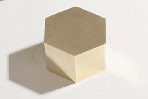 Hex brass paperweight