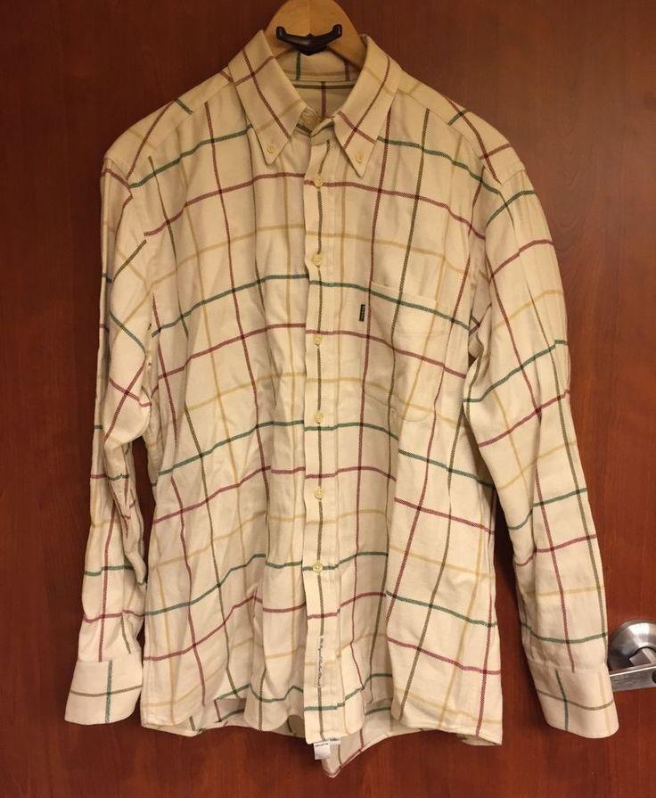 ☀Barbour Men's Long Sleeved Coloured☀Flannel Tattersall Shirt Sz M 100% Cotton  | eBay