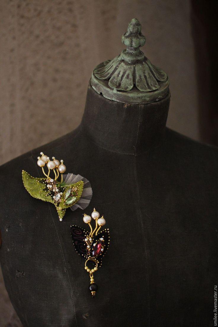 """Купить Украшение брошь цветы """" Lilies of the valley"""" РЕЗЕРВ! - комбинированный, ландыши"""
