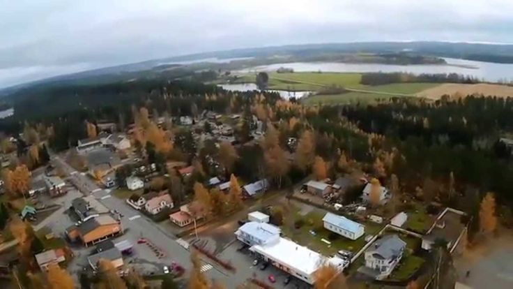 Riistavesi community from air in Kuopio, Finland.