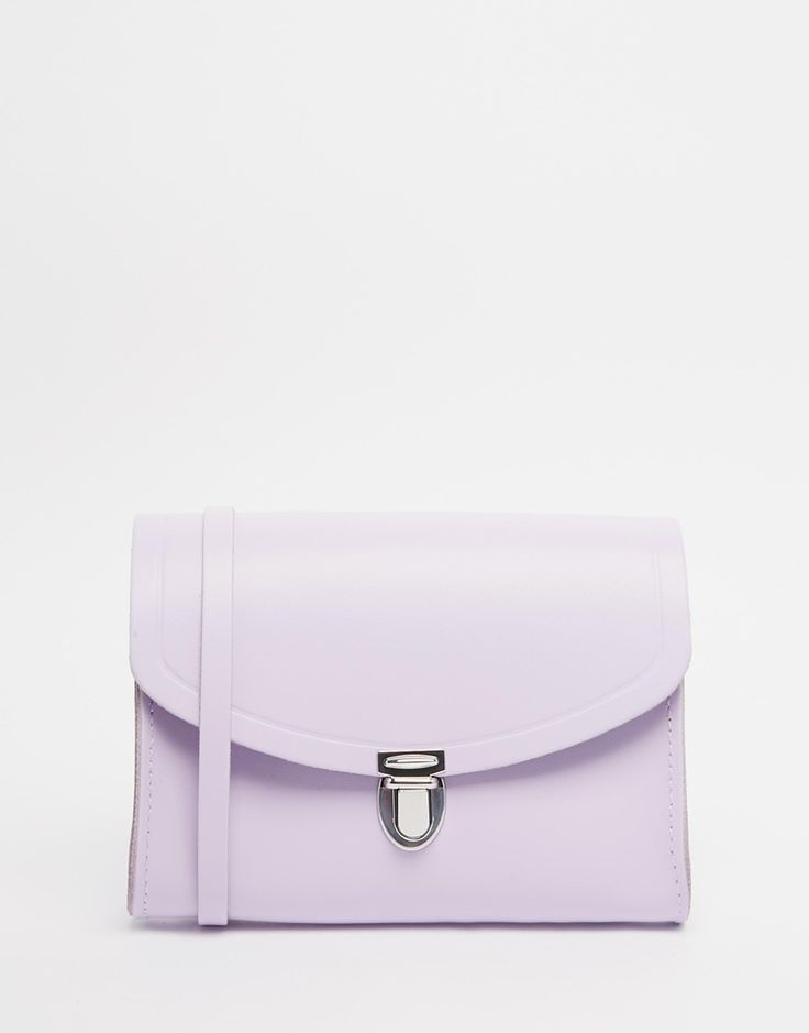 The Cambridge Satchel Company Leather Push Lock Bag in Purple