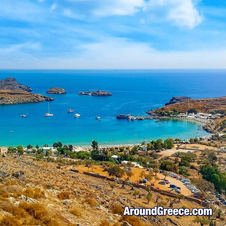 The beautiful beach of Lindos on the Greek island of Rhodes  #Lindos #Rhodes #Greece #Greekislands #holidays #summer #travel #Dodecanese #vacations #beach #aroundgreece #visitgreece #Ροδος #Ελλαδα #Διακοπες #Ταξιδια
