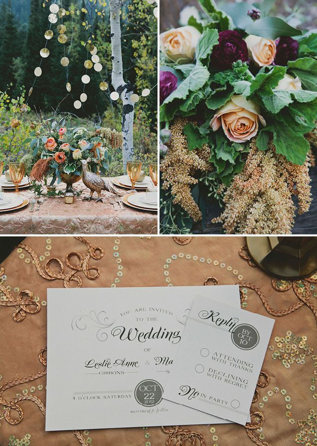 Amber and bronze wedding invitations from Peter Loves Jane