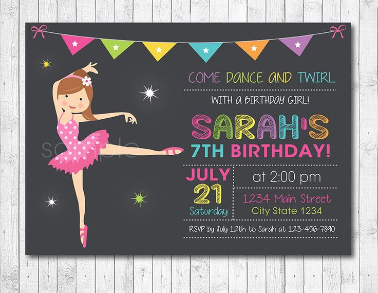Ballet Girls Birthday Invitation, Ballet invite, Ballet Party, Ballerina Invitation, Ballerina Invite, Digital Printable Invitation by funkymushrooms on Etsy https://www.etsy.com/listing/150889415/ballet-girls-birthday-invitation-ballet