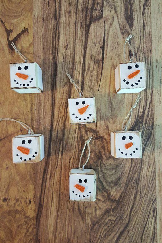Christmas Ornaments - Primitive Snowman - Snowmen - Snow - Winter Decor - Snowman Decor - Snowman - Christmas Decor - Rustic Wood Snowmen