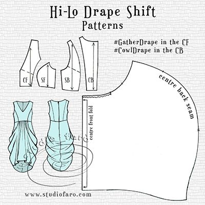 All the  pattern making detail is up on the blog. http://www.studiofaro.com/well-suited/pattern-puzzle-hi-lo-drape-shift?utm_content=buffer3ff61&utm_medium=social&utm_source=pinterest.com&utm_campaign=buffer #PatternPuzzle