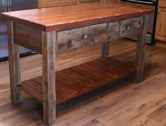 Beautiful Rustic Reclaimed Barn Wood Kitchen Island