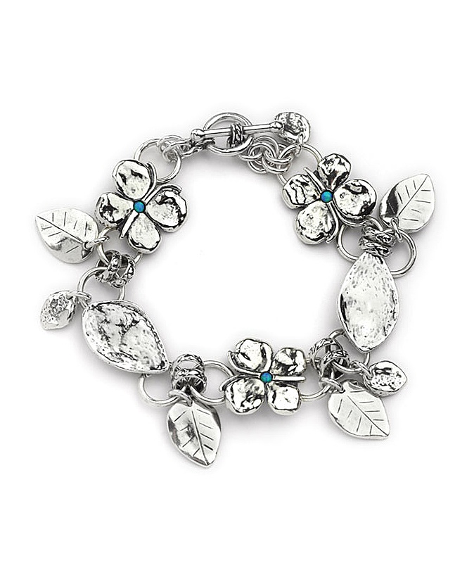 Butterfly Silver Bracelet with Hanging Leaves and Opal Stones  £155.00 #Bracelets #mrsmagpieuk