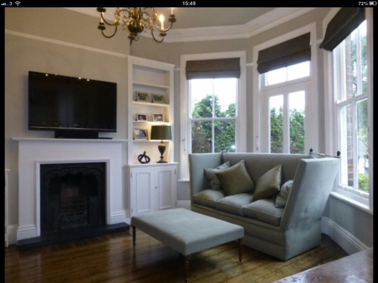 Grey blinds in modern victorian lounge decorating ideas - Shutters for decoration interior ...