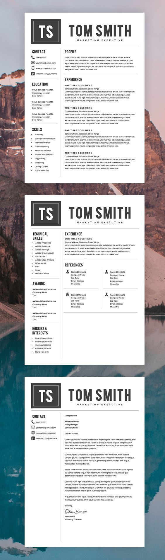 Modern Resume Template - Free Cover Letter - CV Template - MS Word on Mac / PC - Sample - Best Resume Templates - Instant Download